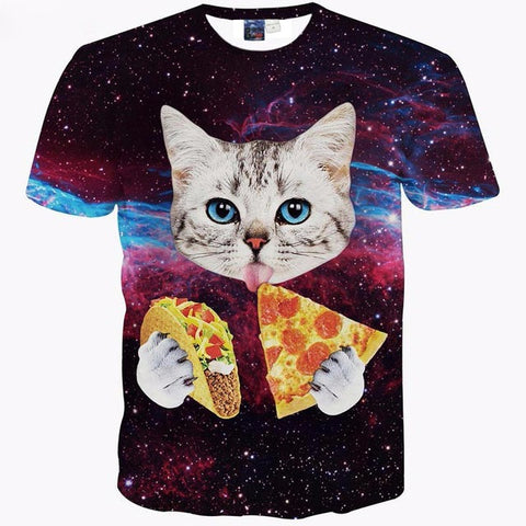 TACO PIZZA CAT 3D PRINT T-SHIRT