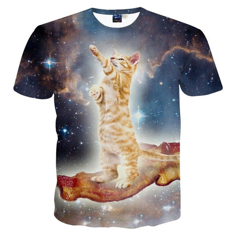 ANGELIC CAT 3D PRINT T-SHIRT