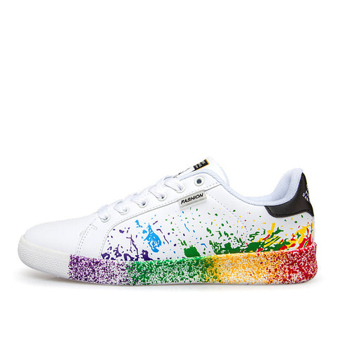 LACE-UP PAINT SPLATTERED WHITE SHOES