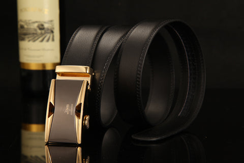 GENUINE LEATHER BELT WITH AUTOMATIC BUCKLE LOCKS