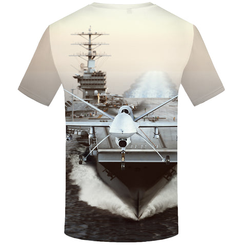 FIGHTER JET & CARRIER 3D PRINT T-SHIRT