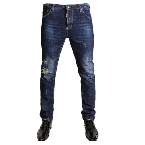 SLIM FIT DISTRESSED ITALIAN JEANS