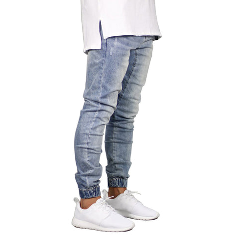 STRETCH DENIM JOGGER PANTS