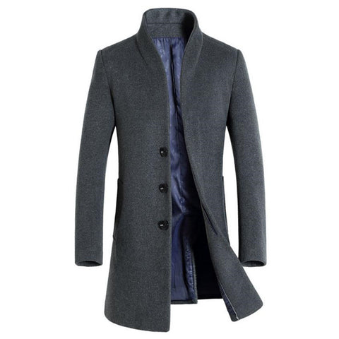 LONG WOOL PEACOAT TRENCH COAT
