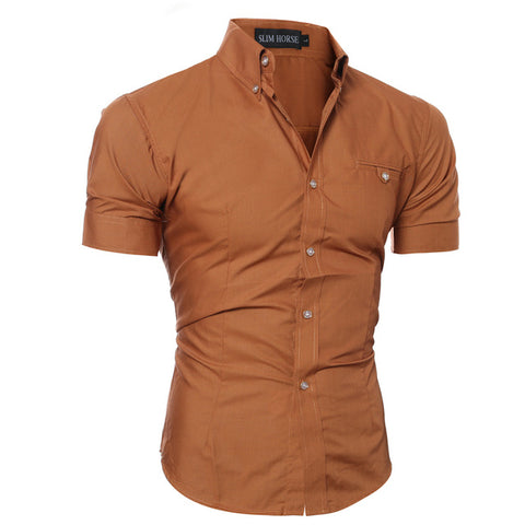 SLIM HORSE TAN BUTTON DOWN