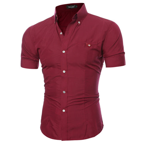 SLIM HORSE RED BUTTON DOWN