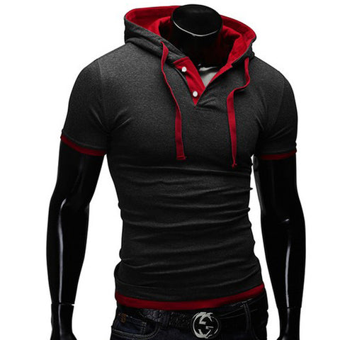 COLOURED COLLAR & TRIM SHORT SLEEVE HOODIE