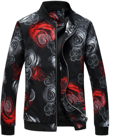 BOMBER JACKET WITH RED & WHITE FLORAL