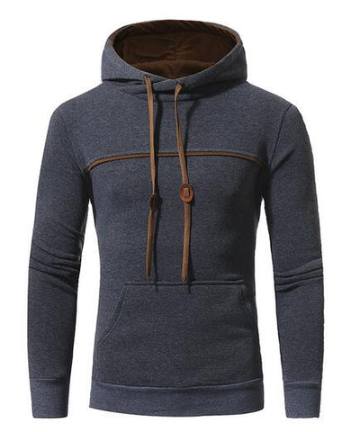 SOLID HOODIE WITH CHEST LINE