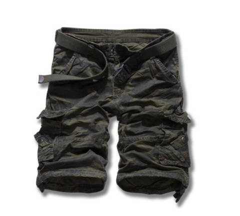 CASUAL DARK GREEN CAMO CARGO SHORTS
