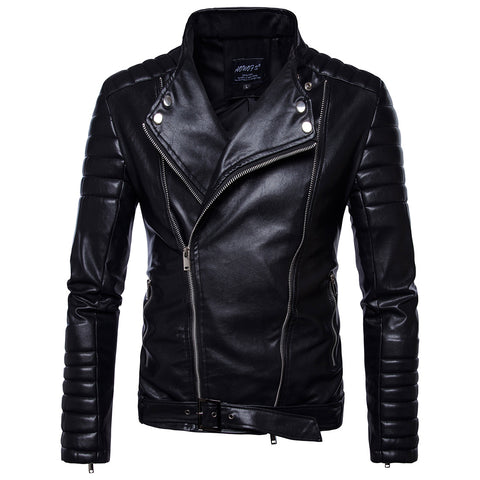 DOUBLE ZIP SLIM BLACK LEATHER MOTO JACKET