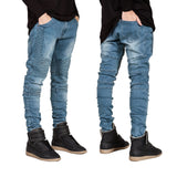 CASUAL DISTRESSED RIPPLED SKINNY JEANS