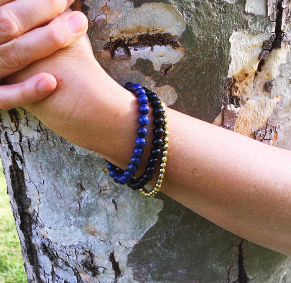 Perfect Balance - Black Onyx, Lapis Lazuli & Gold Hematite Bracelet Set