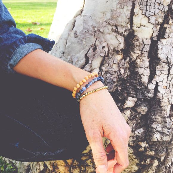 Speak Freely - Gold Hematite, Sandalwood & Sodalite Gemstone Bracelet Set