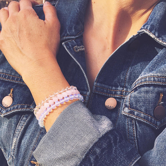 Strengthen Personal Relationships - Crystal Quartz, Opalite & Rose Quartz Bracelet Set