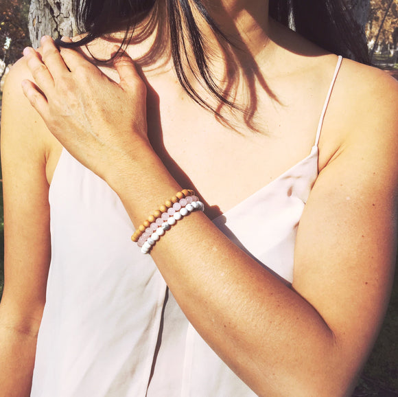 Compassion - Rose Quartz, Sandalwood & White Howlite Gemstone Bracelet Set