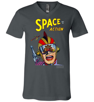 Space Action No.2 V-Neck (Unisex, Dark Colors)
