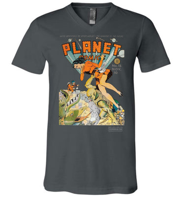 Planet Comics No.15 V-Neck (Unisex, Dark Colors)
