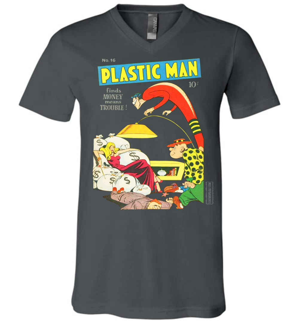 Plastic Man No.16 V-Neck (Unisex, Dark Colors)