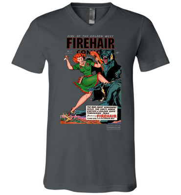 Firehair Comics No.1 V-Neck (Unisex, Dark Colors)