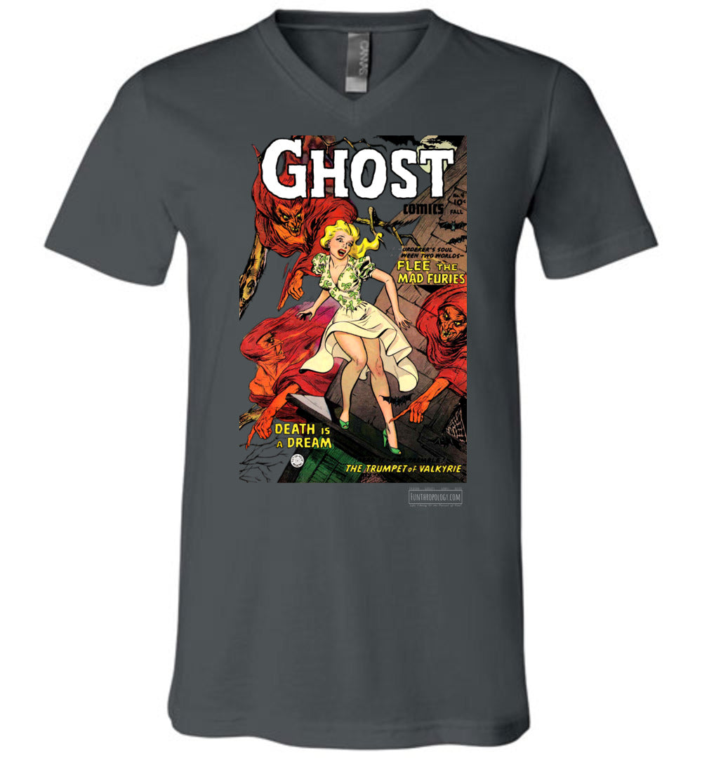 Ghost Comics No.4 V-Neck (Unisex, Dark Colors)