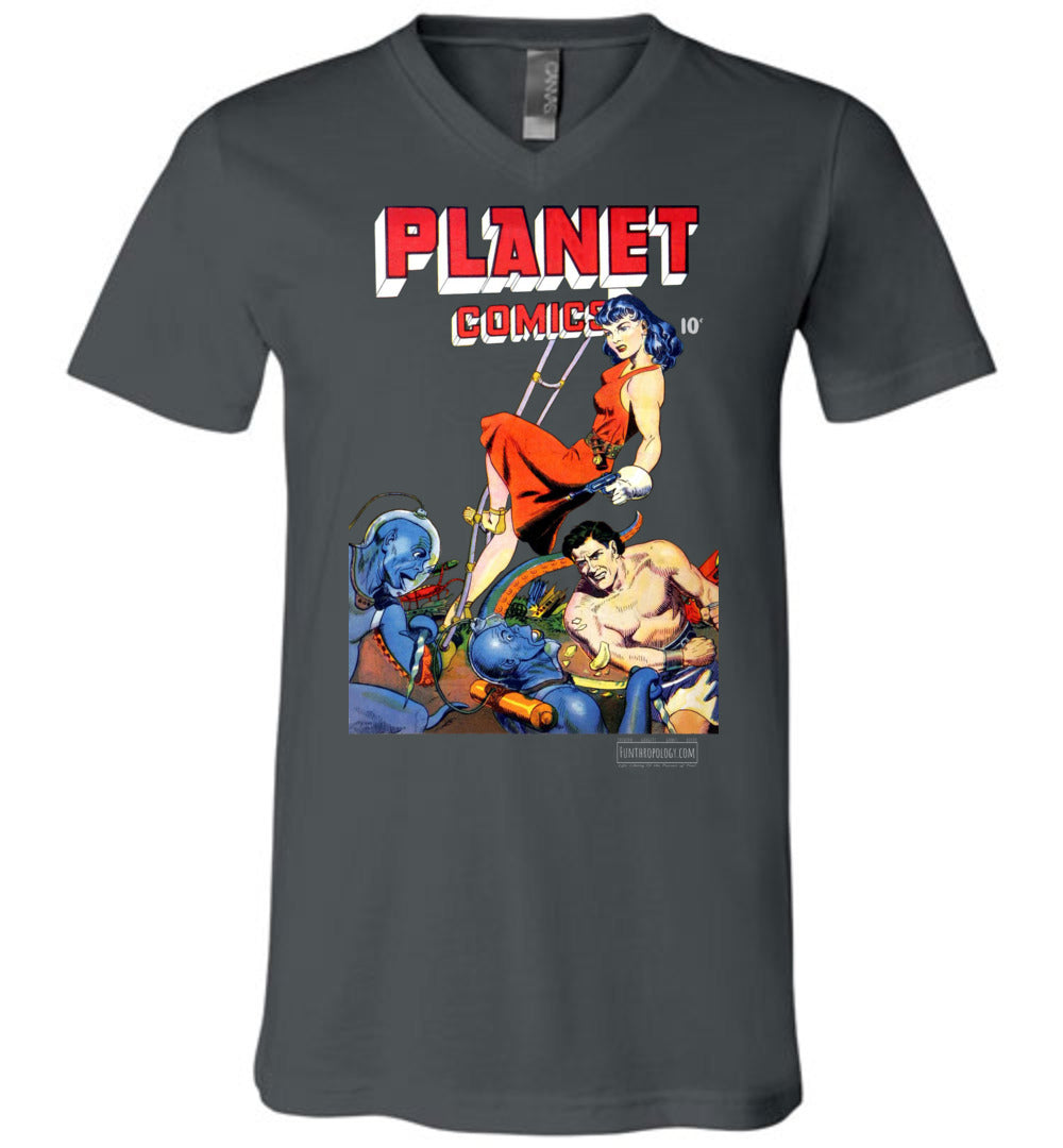Planet Comics No.62 V-Neck (Unisex, Dark Colors)
