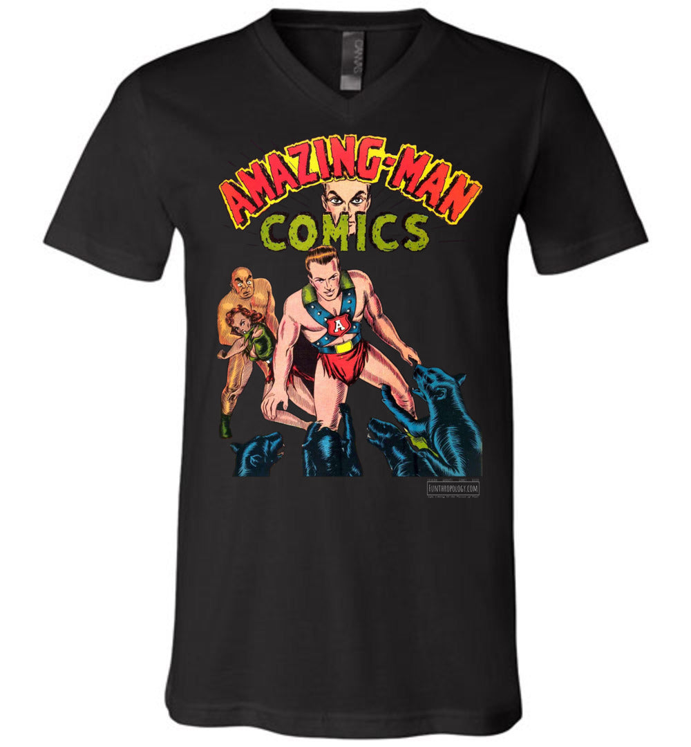 Amazing-Man Comics No.11 V-Neck (Unisex, Dark Colors)