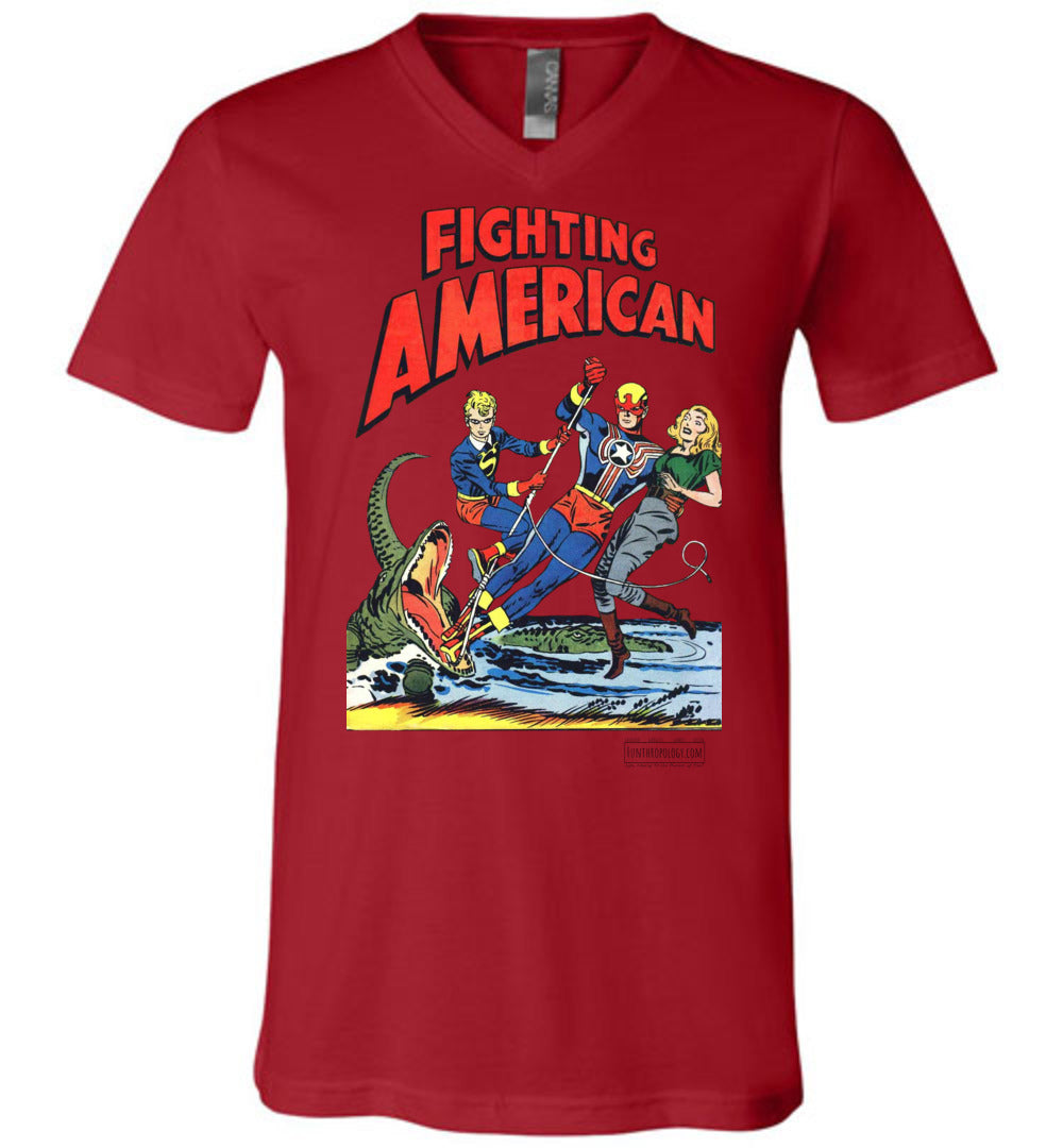 Fighting American No.5 V-Neck (Unisex, Light Colors)