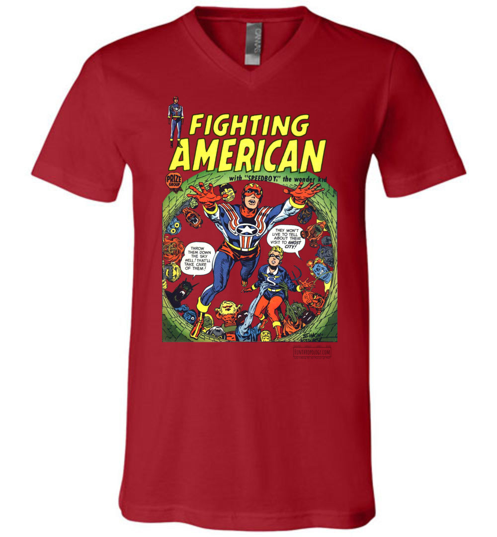 Fighting American No.2 V-Neck (Unisex, Light Colors)