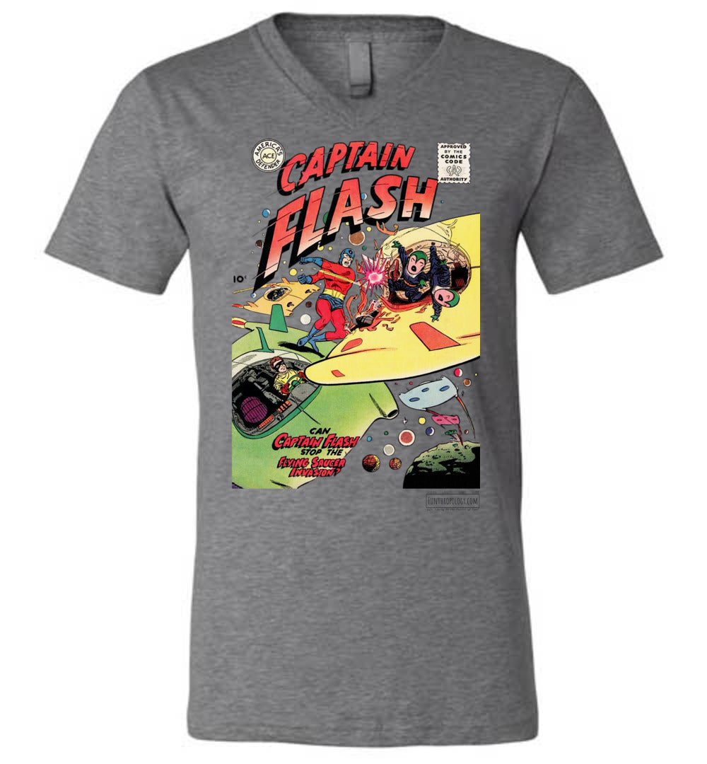 Captain Flash No.4 V-Neck (Unisex, Light Colors)