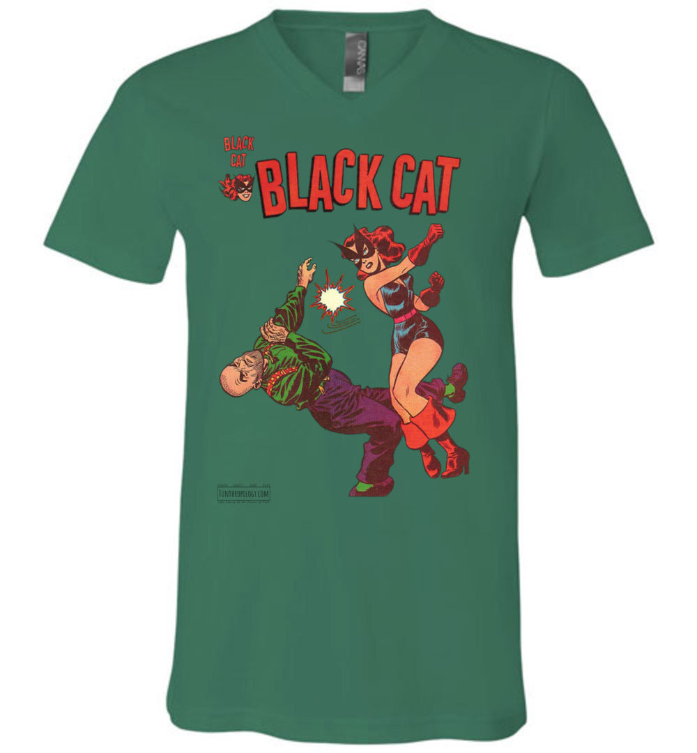 Black Cat No.4 V-Neck (Unisex, Light Colors)