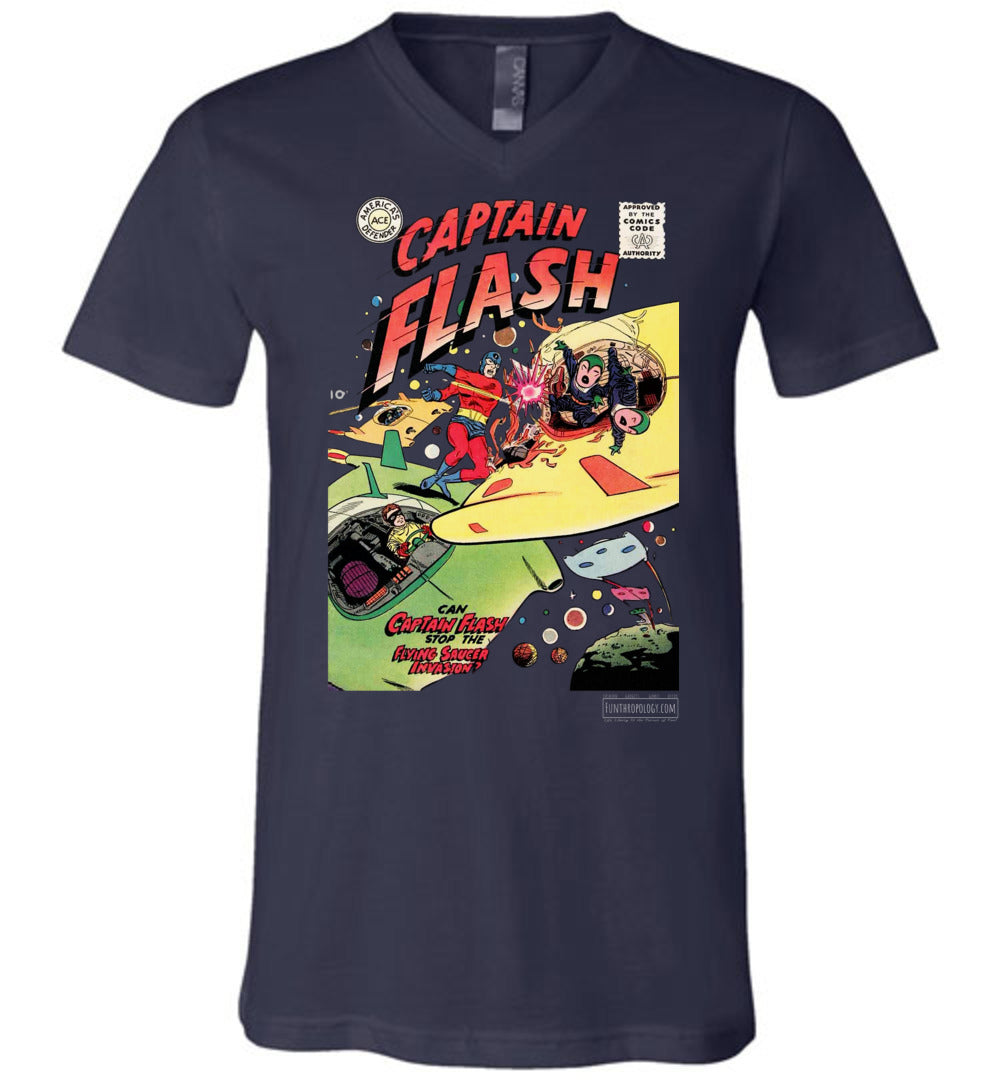 Captain Flash No.4 V-Neck (Unisex, Dark Colors)