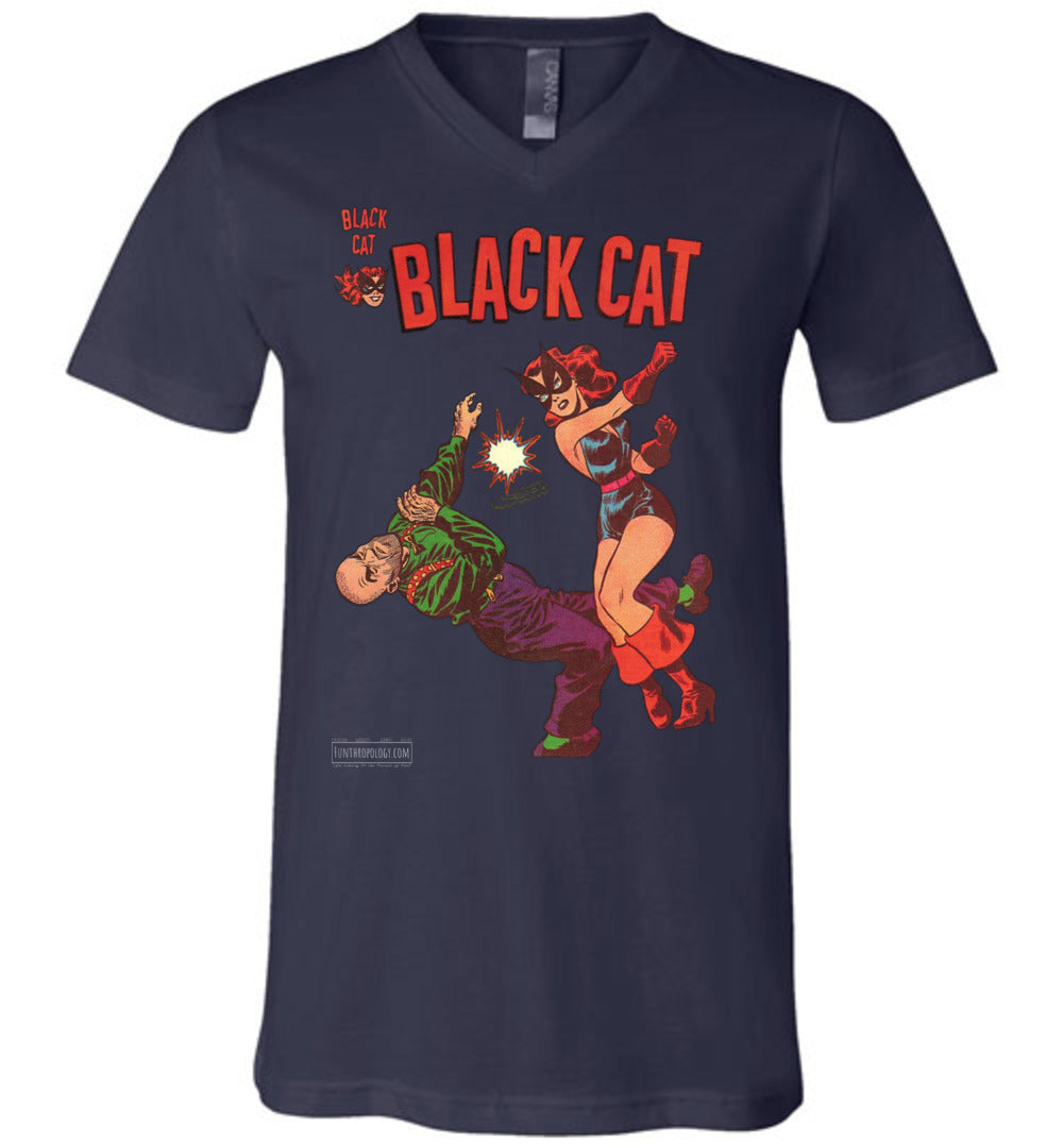 Black Cat No.4 V-Neck (Unisex, Dark Colors)