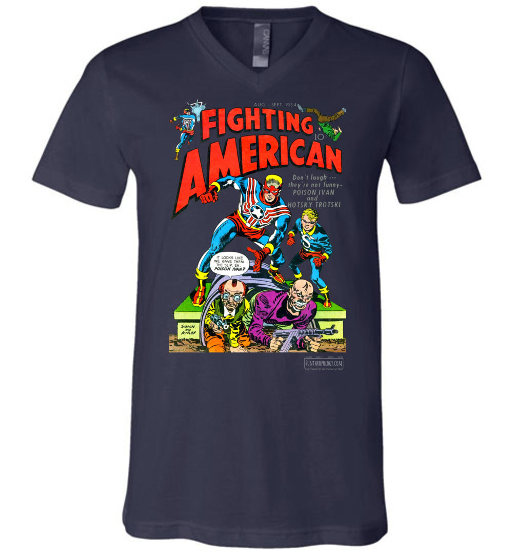 Fighting American No.3 V-Neck (Unisex, Dark Colors)
