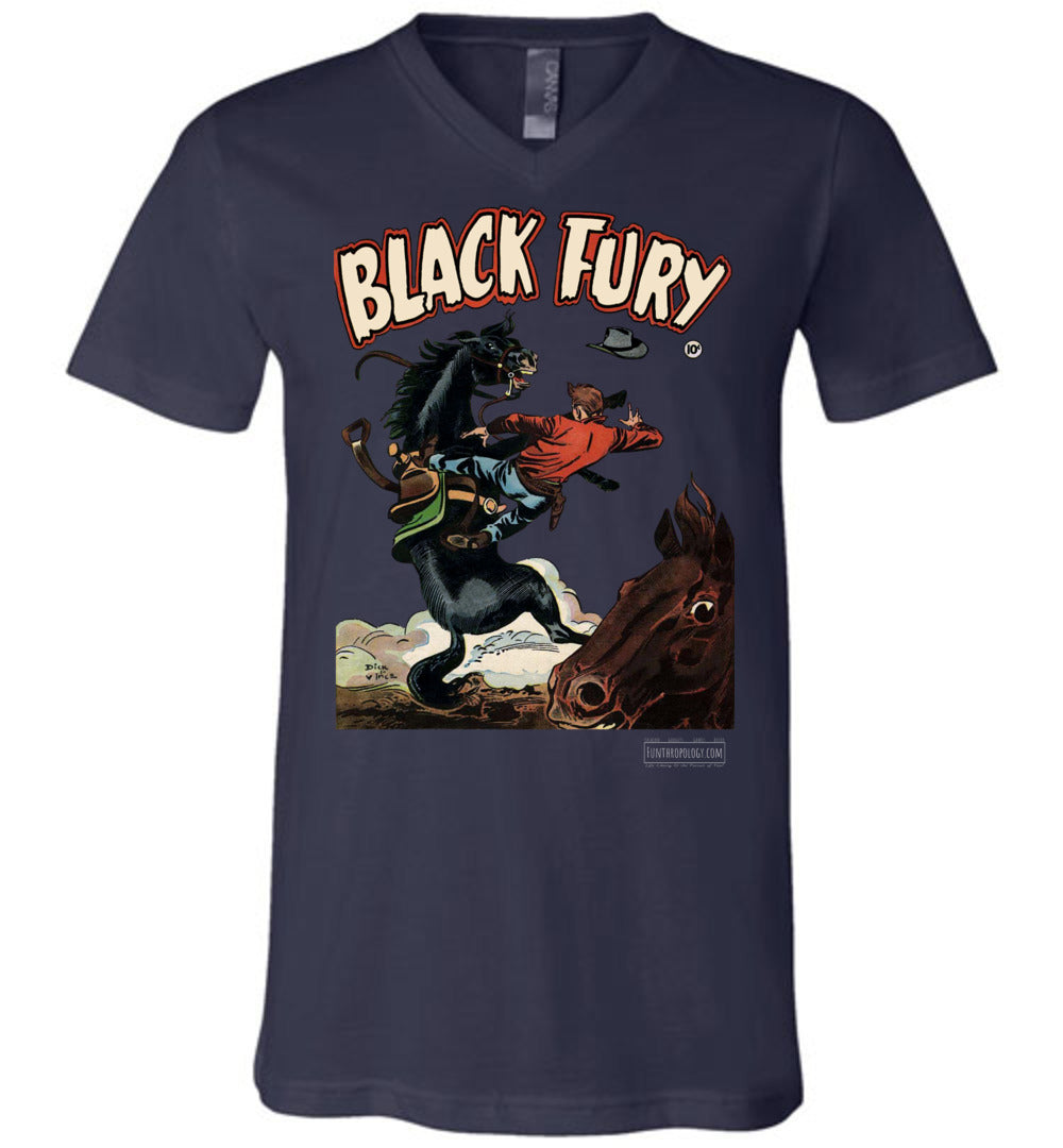 Black Fury No.4 V-Neck (Unisex, Dark Colors)
