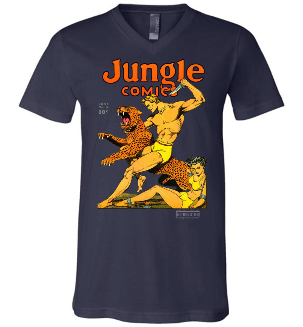 Jungle Comics No.18 V-Neck (Unisex, Dark Colors)