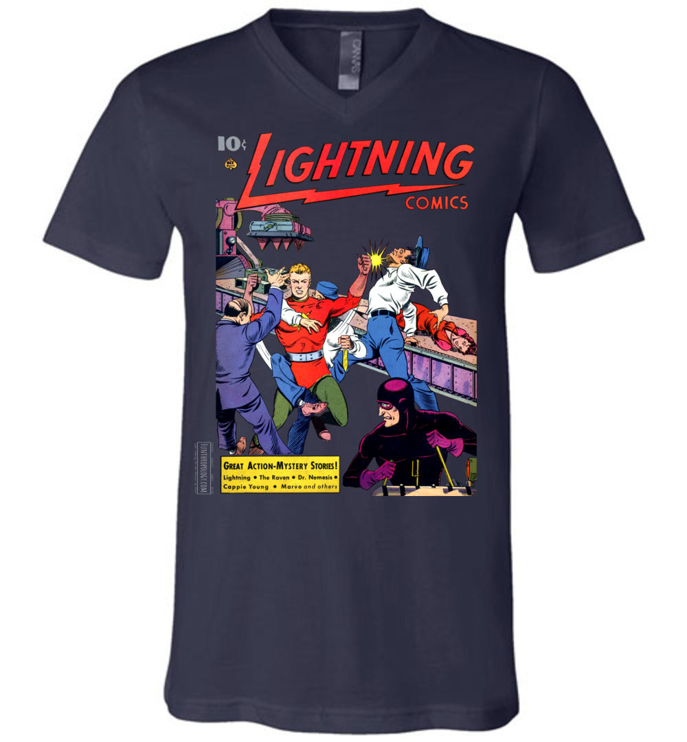 Lightning Comics No.2.6 V-Neck (Unisex, Dark Colors)