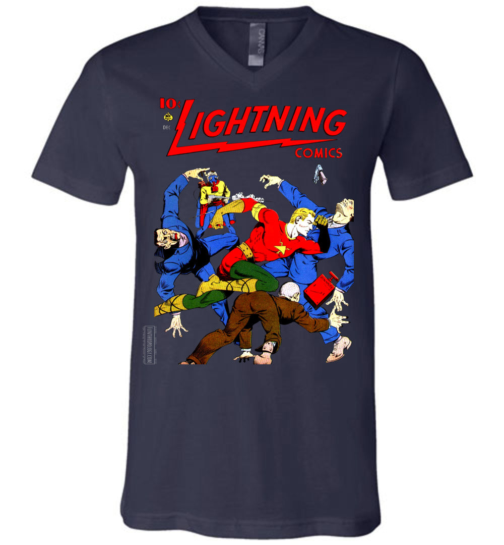 Lightning Comics No.2.4 V-Neck (Unisex, Dark Colors)