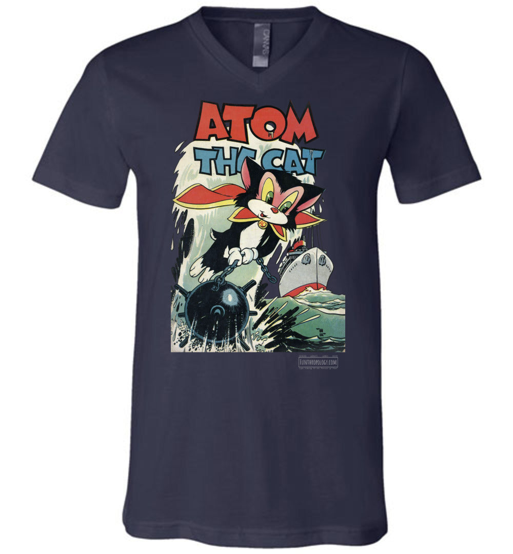 Atom The Cat No.10 V-Neck (Unisex, Dark Colors)