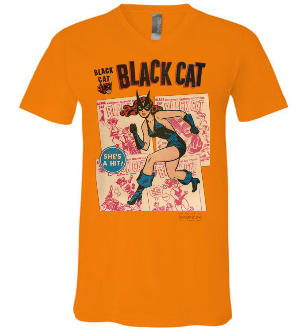 Black Cat No.6 V-Neck (Unisex, Light Colors)
