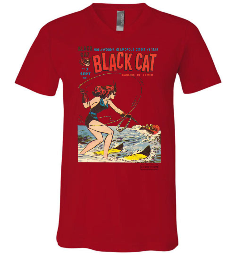 Black Cat No.7 V-Neck (Unisex, Light Colors)