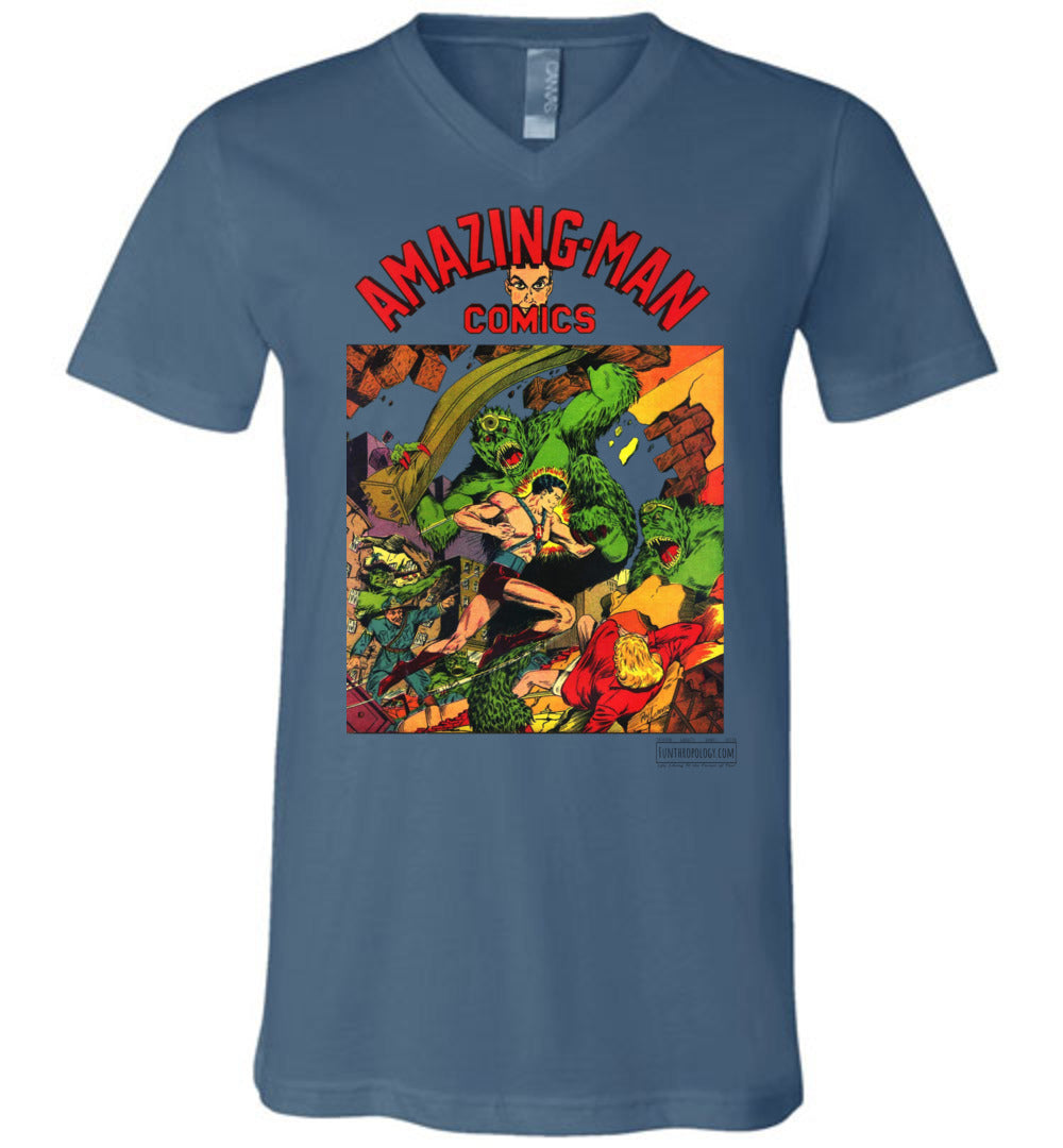 Amazing-Man Comics No.22 V-Neck (Unisex, Light Colors)