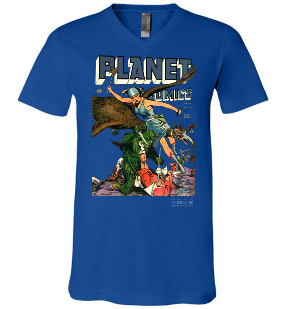 Planet Comics No.24 V-Neck (Unisex, Dark Colors)