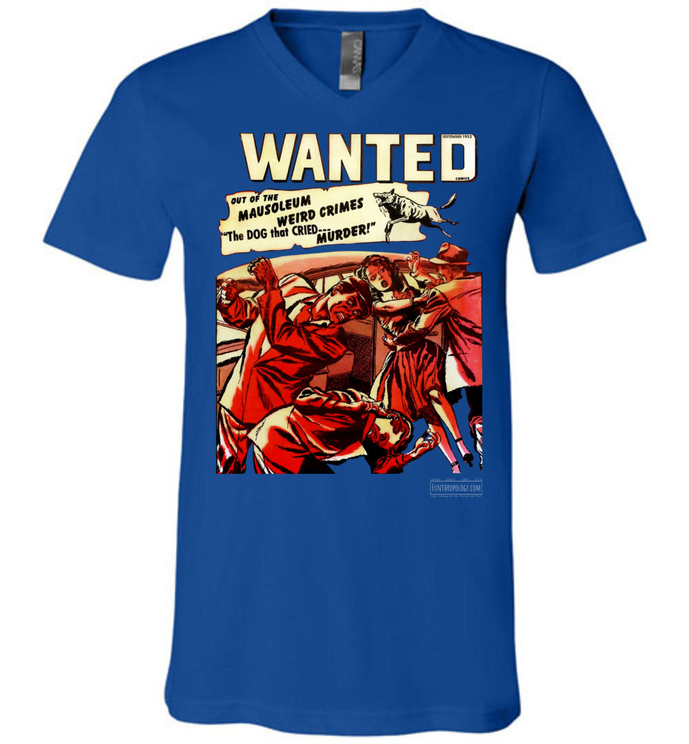 Wanted Comics No.49 V-Neck (Unisex, Dark Colors)