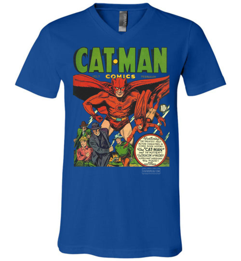 Cat-Man No.7 V-Neck (Unisex, Dark Colors)