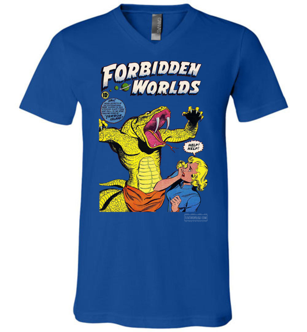Forbidden Worlds No.20 V-Neck (Unisex, Dark Colors)