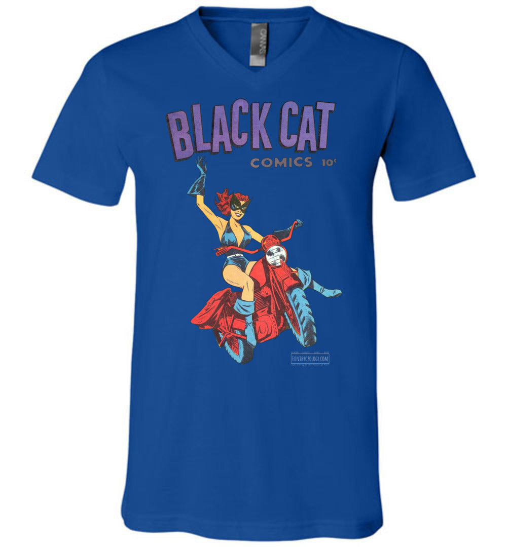 Black Cat No.1 V-Neck (Unisex, Dark Colors)