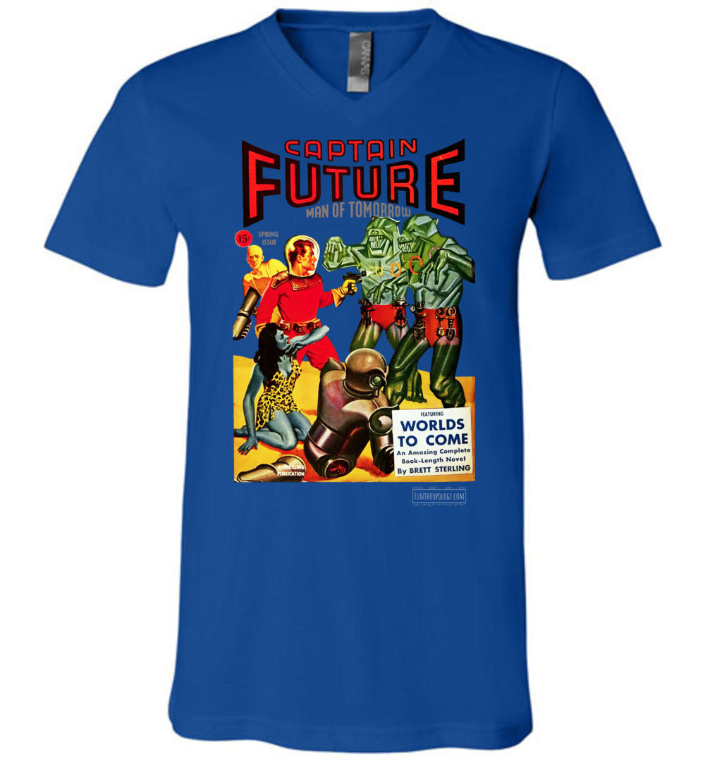 Captain Future No.14 V-Neck (Unisex, Dark Colors)