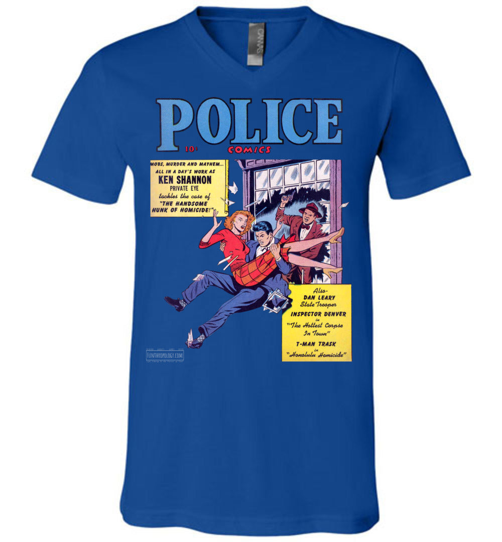 Police Comics No.104 V-Neck (Unisex, Dark Colors)