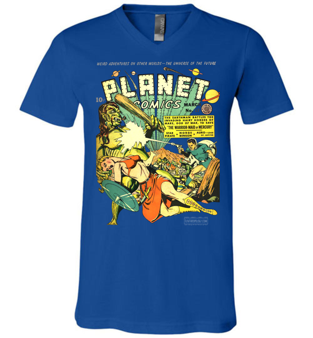 Planet Comics No.17 V-Neck (Unisex, Dark Colors)